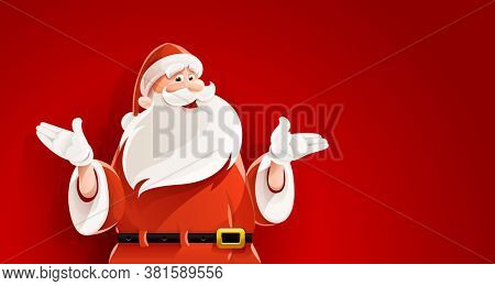 Merry Santa Claus. Smiling cartoon old man in santa clauses suit telling Christmas holiday story, mens figure on red background. 3D illustration.