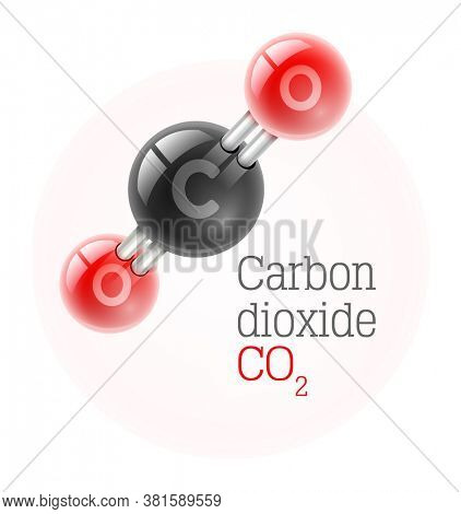 Chemical model of carbon dioxide gas molecule, isolated white background. 3D illustration.