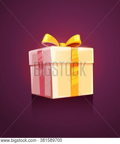 Christmas holiday gift grand box packing with golden ribbon and bow. 3D illustration.
