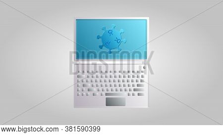 A Modern Digital Computer Laptop For Working Online Medicine On A Cure For A Dangerous Deadly Epidem