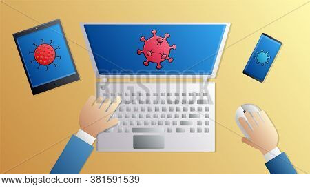 A Medical Doctor Works With His Hands On A Computer Laptop Tablet Over A Vaccine Drug For The Pandem