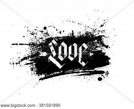 Grunge Splash Template With An Inky Dribble Strip With Copy Space. Abstract Ink Splash For Backgroun