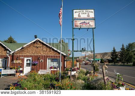 Dubois, Wyoming - July 26, 2020: Sign And Office For The Black Bear Inn, A Small Motel In Downtown D