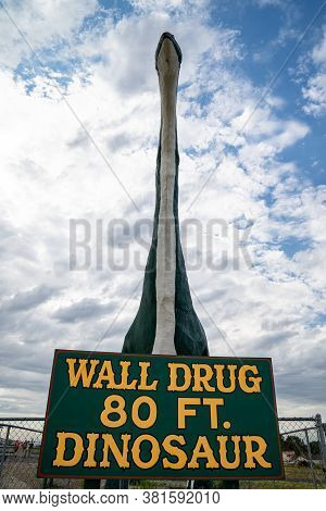 Wall, South Dakota - July 24, 2020: Large 80 Foot Dinosaur At The Entrance Of The Town Of Wall And I