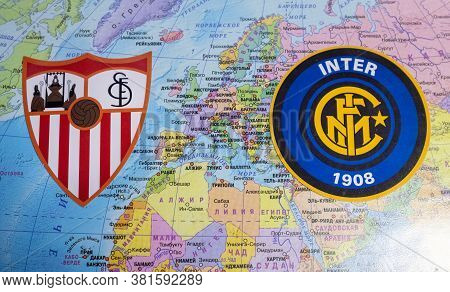 August 20, 2020 Cologne, Germany. The Emblems Of The 2019/2020 Europa League Finalists Sevilla Fc An