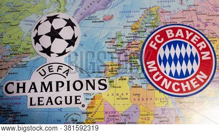 August 20, 2020 Lisbon, Portugal. The Emblems Of The 2019/2020 Uefa Champions League Finalist Fc Bay