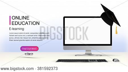 Web Page Template - Of E Learning  Online Education Concept With E-learning. Computer With A White S