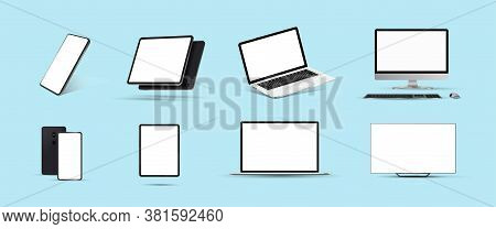 Great Minimalistic 3d Device Set. Mockups At Different Angles. Smartphone, Tablet, Laptop, Pc And Tv