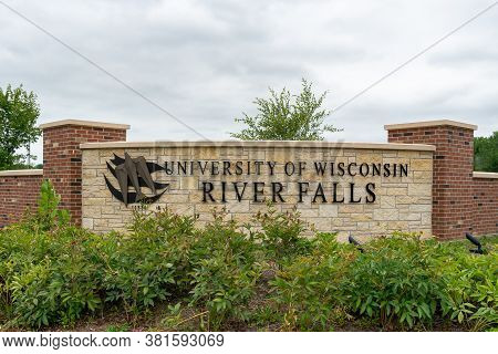Entrance Sign And Logo To University Of Wisconsin River Falls