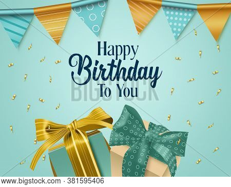 Happy Birthday Vector Background Design. Happy Birthday To You Text With Party Hanging Pennants, Gif
