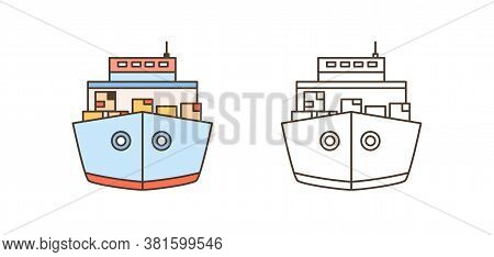 Front View Colorful And Monochrome Cargo Ships Icon Set Vector Illustration In Line Art Style. Freig