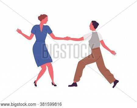 Couple Performing Lindy Hop Or Swing Dance Elements Holding Hands Vector Flat Illustration. Man And