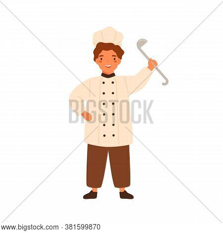 Funny Chief Cook Little Boy Holding Ladle Vector Flat Illustration. Cute Cookery Child Standing In W