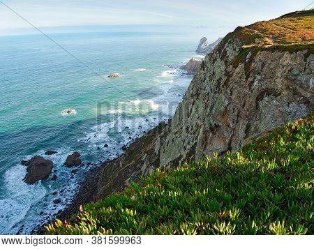 The Cliff  And Coastline At Cabo Da Roca In Portugal Which Situated In The Westernmost Point Of Main