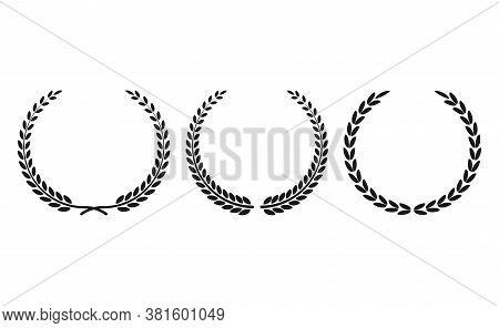 Set Black Silhouette Circular Laurel Foliate, Wheat And Oak Wreaths Depicting An Award, Achievement,
