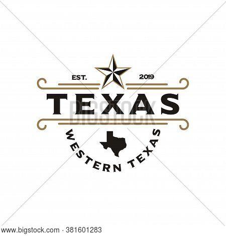 Vintage Retro Western Country Emblem Texas Logo Design Vector