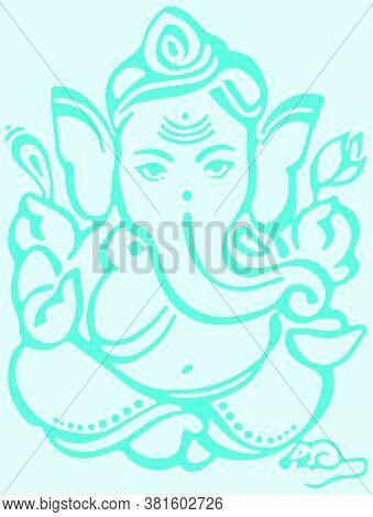 Drawing Or Sketch Of Hindu God Lord Ganesha Editable Outline Vector Illustration