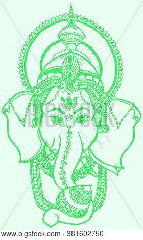 Drawing Or Sketch Of Hindu God Lord Ganesha Closeup Face Outline Editable Vector Illustration