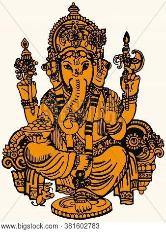 Drawing Or Sketch Of Hindu God Lord Ganesha Outline Editable Vector Illustration