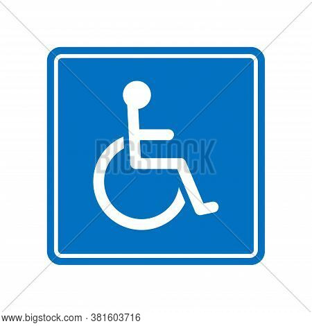 Wheelchair, Handicapped Or Accessibility Parking Or Access Sign Flat Blue Vector Icon For Apps And P