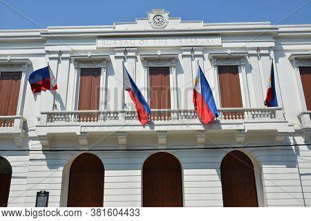 Manila, Ph - Apr 7 - Bureau Of The Treasury Building Facade At Intramuros On April 7, 2019 In Manila