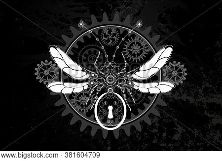 Contour, White, Mechanical Insect With Mechanism Of Silhouette Gears On Dark Grunge Background. Stea