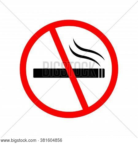 No Smoking Sign Icon. On White Background, Vector Icon Illustration. No Sign, Red Warning Isolated.