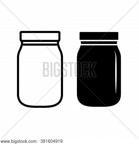 Mason Jar Glass Container Line Art Vector Icon. Medicine Bottle And Pill Icon. Mason Jar Pot.