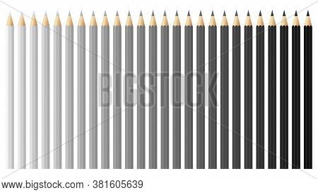 Black And White Pencils, Crayons Set, Back To School. Black And White Spectrum Vector Pencils And Cr