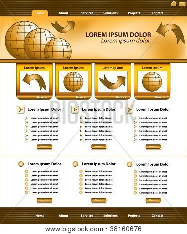 Website Template Design Brown Gold
