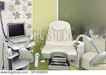 Gynecology. Gynecological Office With An Armchair And Other Medical Equipment.