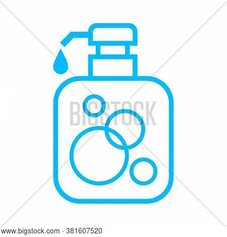 Alcohol Gel Bottle Icon Blue Isolated On White, Bottle Pump Hand Wash Gel Symbol, Soap Gel Bottle Ic