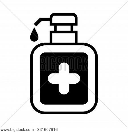 Alcohol Gel Bottle And Cross Icon Isolated On White, Bottle Pump Hand Wash Gel Symbol, Soap Gel Bott