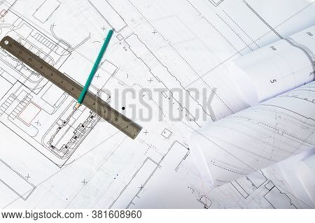Paper Architectural Drawings And Blueprint, Interior Design Plans And Projects.