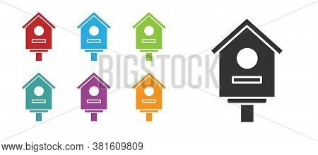 Black Bird House Icon Isolated On White Background. Nesting Box Birdhouse, Homemade Building For Bir