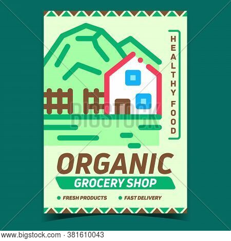 Organic Grocery Shop Advertising Banner Vector. Grocery Market Selling Healthy Food, Countryside Sto