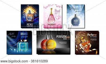 Perfume Product Promotional Posters Set Vector. Luxury Blank Bottles On Creative Advertising Marketi