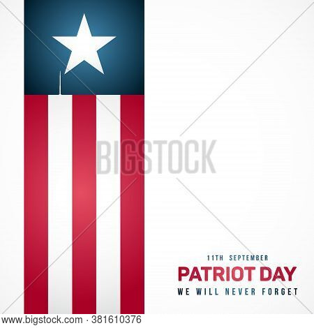 September 11; Patriot Day In Usa. Anniversary Of Terrorist Attack. Vector Banner For Remembrance Day
