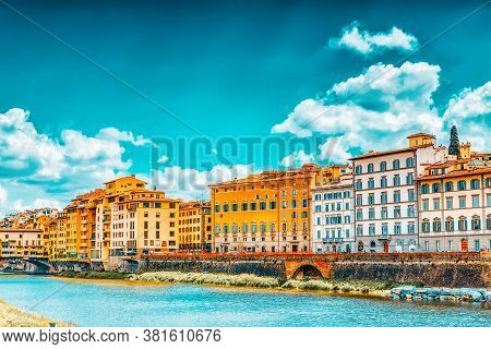 Beautiful Landscape View Bank Of The Arno River Of The Florence - The Center Of The Florentine Repub