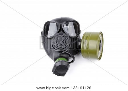 black gas mask isolated over white background poster