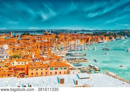 Panoramic View Of Venice From The Campanile Tower Of St. Mark's Cathedral (campanile Di San Marco)-