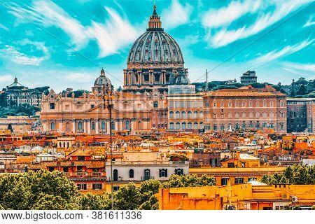 View Of The City Of Rome From Above, From The Hill Of Terrazza Del Pincio.basilica Di San Pietro. It