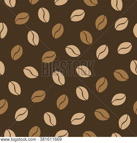 Seamless Pattern Of Coffe In Beans. Vector Illustration