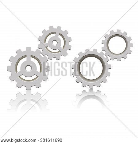 Set Of Gears With Reflection. Vector Icon. Mechanical Gear. The Image Of The Gear. Cogwheel Gear