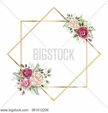 Isolated Gold Geometric Frame Or Polyhedron With Leaves And Rose. You Can Put Leaf Or Flower On Top