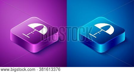 Isometric Sun Protective Umbrella For Beach Icon Isolated On Blue And Purple Background. Large Paras