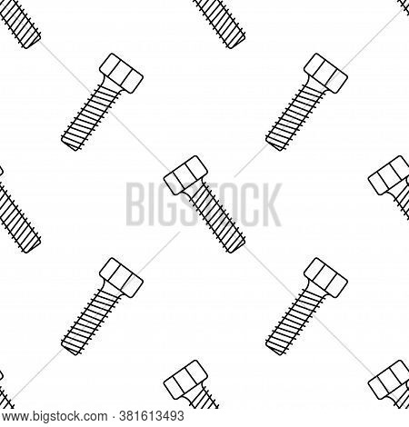 Seamless Pattern With Doodle Screws. Texture With Bolts. Vector Illustration On White Background