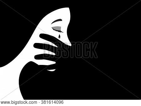 Black And White Illustration Of A Hand Covering Woman Mouth Concept For Abuse Or Domestic Violence.