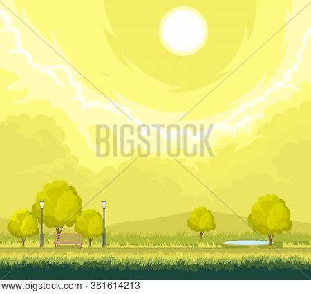Cartoon Illustration Of Rural Autumn Landscape With Trees And Walkway And Lantern.
