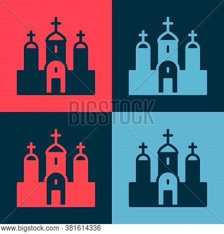 Pop Art Church Building Icon Isolated On Color Background. Christian Church. Religion Of Church. Vec